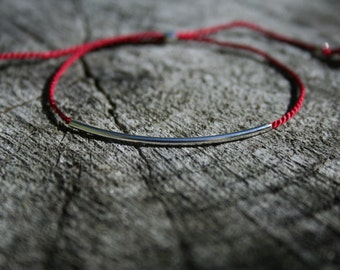 Red thread Bracelet with Sterling Silver tube - adjustable