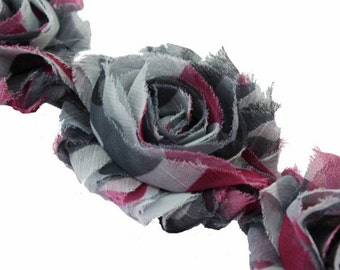Set of 10-Pink Camo-Shabby Chiffon Flowers