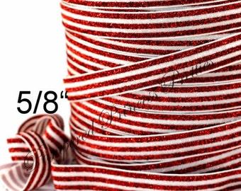 "5yd-Glitter Elastic-RED/WHITE Striped-5/8"""