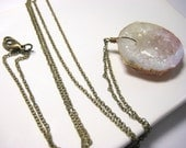 geode necklace antiqued brass druzy chunky stone wire wrap long rustic boho simple jewelry
