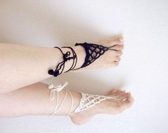 Hand Crochet Barefoot Sandals,Gypsy,Beach,Triangles Barefoot Sandals,Pool,Yoga, ,Victorian, Sexy,Lolita,Hippie, Old fashioned,Irish