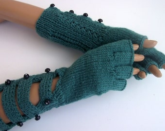 Oil Green gloves with buttons-Half Finger Gloves With a buttons-Ready to ship