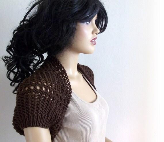 Brown Elegant Shrug-Knitting  Shrug - Any Season-Brown Bolero-New Item