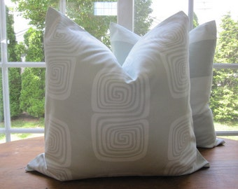 SALE...Pillow, Decorative Throw Pillow Cover, Designer Aqua Squares Pillow Cover 20 x 20 in stock and ready to ship