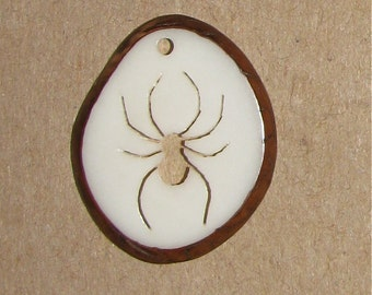 Tagua Nut Spider Pendant, Organic Beads, Natural Beads, Vegetable Ivory Beads, EcoBeads