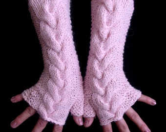 Fingerless Gloves Pink, Extra Soft Cabled Arm Warmers in Angora and Acrylic