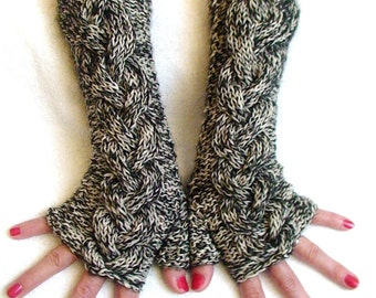 Fingerless Gloves Tweed Cabled  Arm Warmers in Black and White