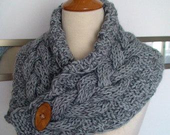 Chunky Cowl Neck Warmer Scarf Grey Handknit Cabled Warm Extra Thick in Soft Wool SALE