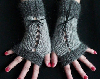Fingerless Gloves Corset Wrist Warmers in Light and Dark Grey with Black Suede Ribbons Victorian Style