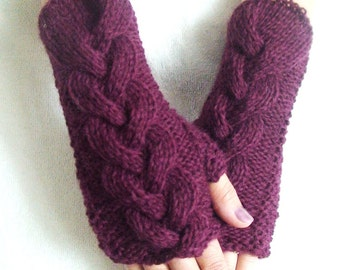 Burgundy Wrist Warmers Fingerless Gloves Cabled Warm and Soft