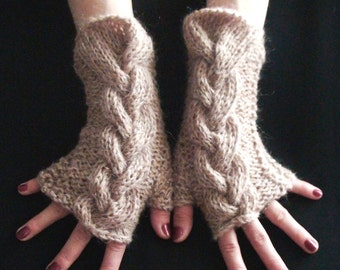Fingerless Gloves Cabled Wrist Warmers in Light Brown Warm
