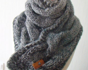 Scarf  Chunky Cowl Grey Shades Thick Cabled Hand Knit
