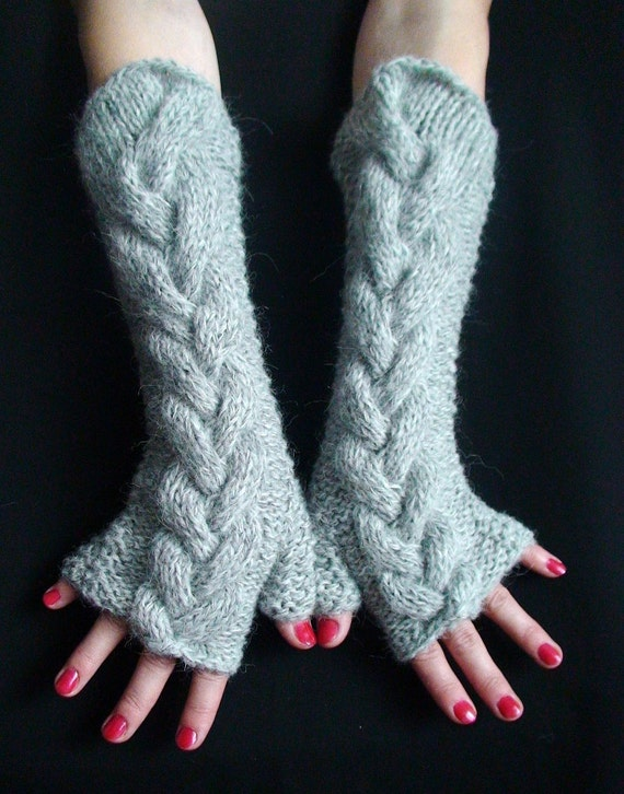 Fingerless Glove Light Grey Warm Cabled Arm Warmers