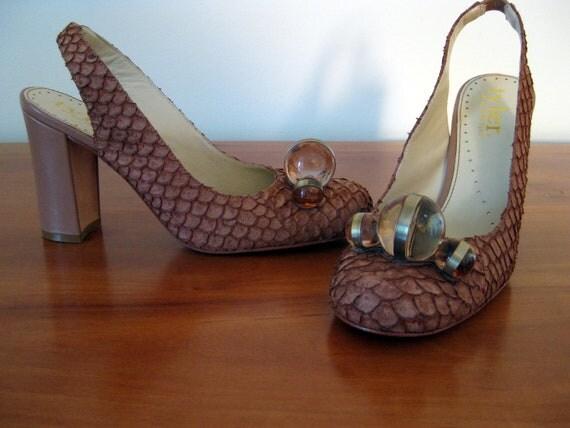 1960s heel / Richard Tyler Shoes / Slingback Shoes