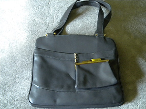 Vintage 60s Leather Purse Handbag Grey NOS, Unused