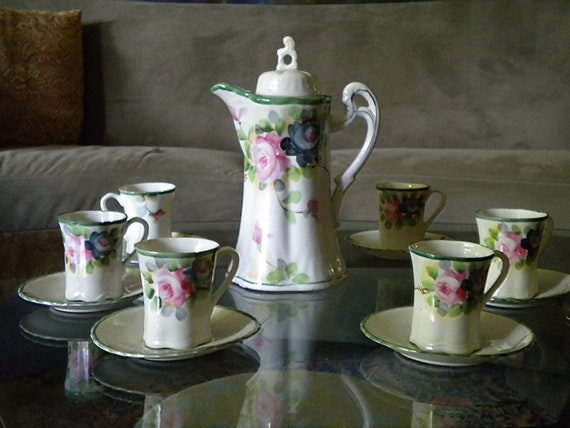 Chocolate Pot Set Vintage, Antique: Hand Painted with 6 Cups and Saucers, Japanese, Roses, Moriage
