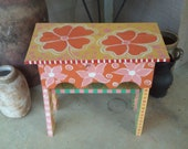 Primitive Side Table Painting in Bright Colors, Floral Side Table, Upcycled wood