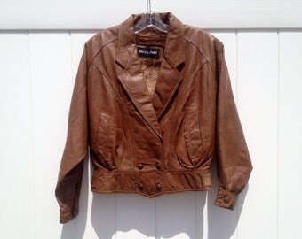 Vintage Double-Breasted Snap-Button Cropped Leather Jacket with Lapels in Tan by North Pole