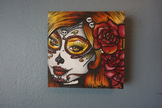 Reserved- Day of the dead Tattoo flash painting in oil  Autumn Fall Colors  Lowbrow Big eye  4 by 4