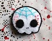 felt sugar skull pin