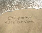 Birth Announcement Beach Writing Baby Boy Girl Beach