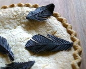 Edible Black Bird Feathers -Chocolate Flavor -18 -Confection Embellishment