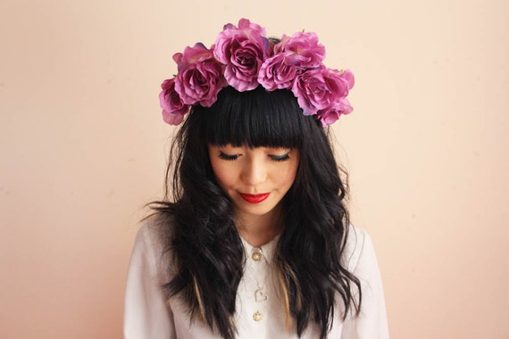 floral crown headband hair wreath - purple pink, romantic statement headpiece, large flower crown, oversized.
