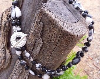 Zebra Stone and Onyx Necklace