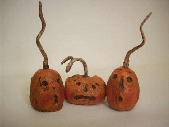 Primitive Paper Mache Folk Art Scared Pumpkin Trio