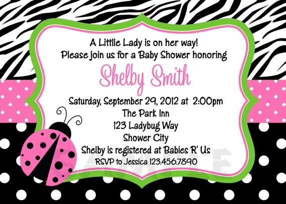Zebra Print Ladybug Baby Shower Invitation Bridal Shower Invitation Birthday Invitation Printable