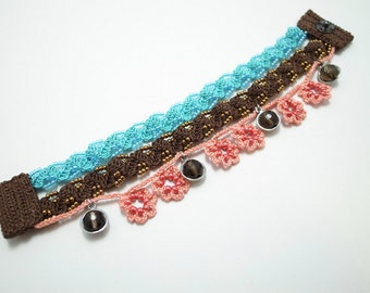 Crochet Lace Jewelry (Bohemian III) Fiber Jewelry, Crochet Bracelet, Gemstone