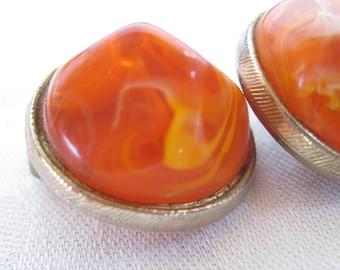 KRAMER Dreamy Creamy Orange Lucite Earrings