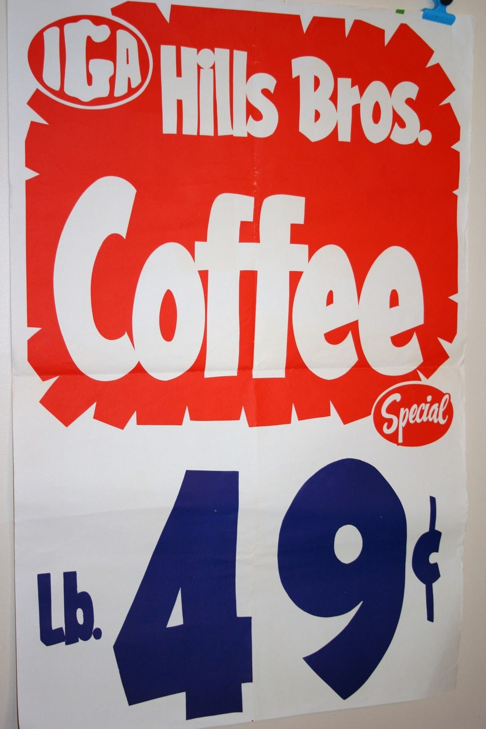 Vintage 1960s Iga Hills Bros Coffee Grocery Store Poster