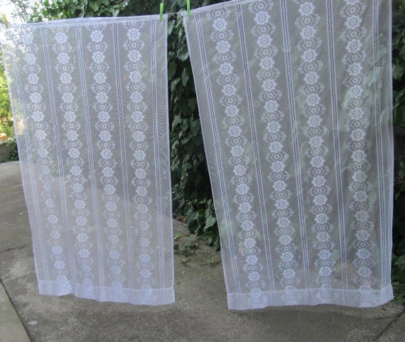 Vintage sheer curtains pair french lace curtains curtain