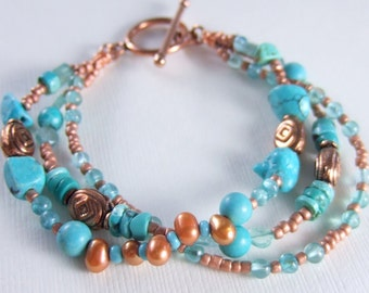 Copper, Turquoise, and Apatite Triple Strand Bracelet
