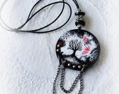 Halloween Necklace - October Trees- OOAK Gothic pendant