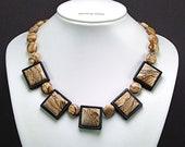 African Queen Jasper Intarsia Necklace - N217