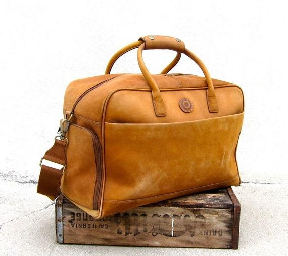 Vintage Rugged Nubuck Tan Leather Duffle Travel Bag