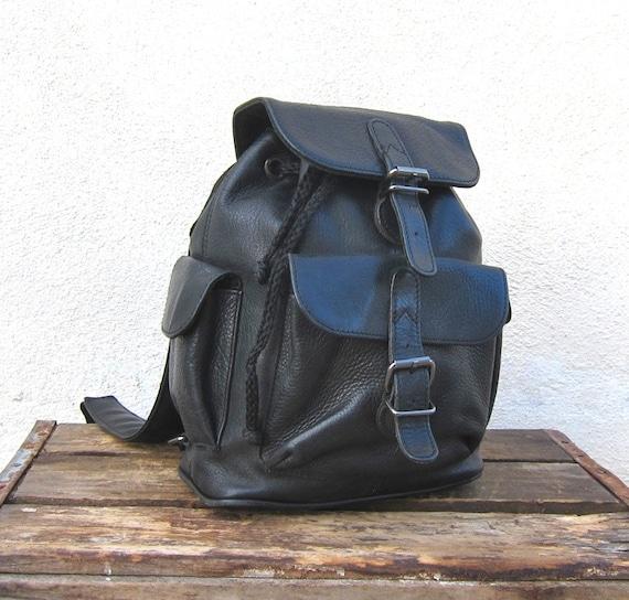 Vintage Worn In Black Leather Small Rucksack Backpack
