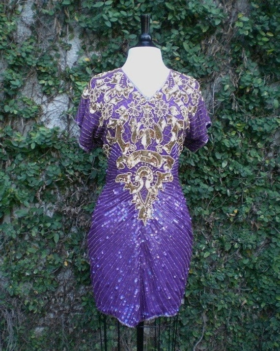 Sale Vintage 1980s Purple and Gold Heavily Beaded Cut Out Back Silk Mini Cocktail Dress M/L