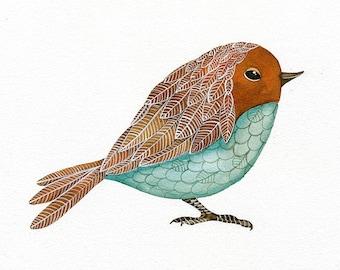 Bird Print, Limited Edition - Bird No.28 - Art Watercolor Painting by Lorisworld