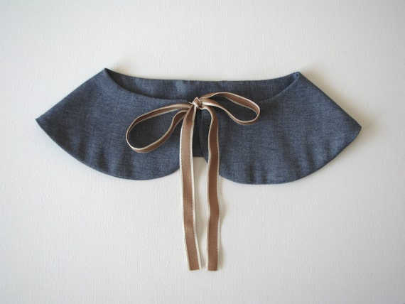 Back to school Butterfly detachable - Peter Pan collar cotton blue and brown