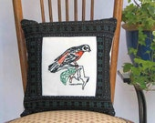 Maryland oriole pillow, cabin, cottage, farmhouse decor with vintage hand-embroidery -- a keepsake gift. Includes pillow form.