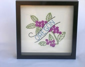 Oregon and all states vintage embroidery, state flower purple green quilt block framed in shadowbox, any state available, custom-made