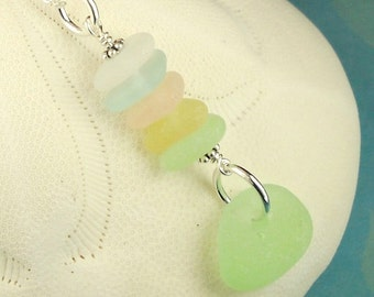 GENUINE Sea Glass Necklace Sterling Silver Pastel Seaglass Jewelry