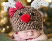 Reindeer Crochet Hat - Made to Order- photography prop