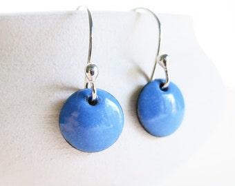 Enamel Earrings - Periwinkle Blue, Silver Earrings, Copper Enamel Jewelry, Dangle Earrings