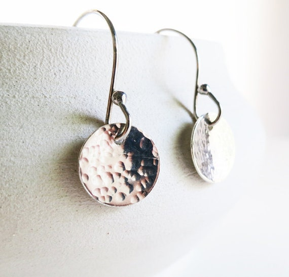 Silver Disc Earrings - Sterling Silver Earrings, Simple Silver Earrings, Silver Metalwork Jewelry