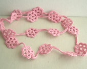 Barbie Pink Long Flower Necklace - Bridesmaid pink Necklace - Lace Fashion 2014 - Boho chic - Lacy trends - Mother's day gift