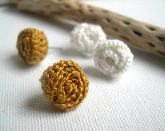 Elegant mustard Rose Earrings - Lace rose earrings - Petite rose earrings - Little Rose Earrings - Crocheted Miniature Roses